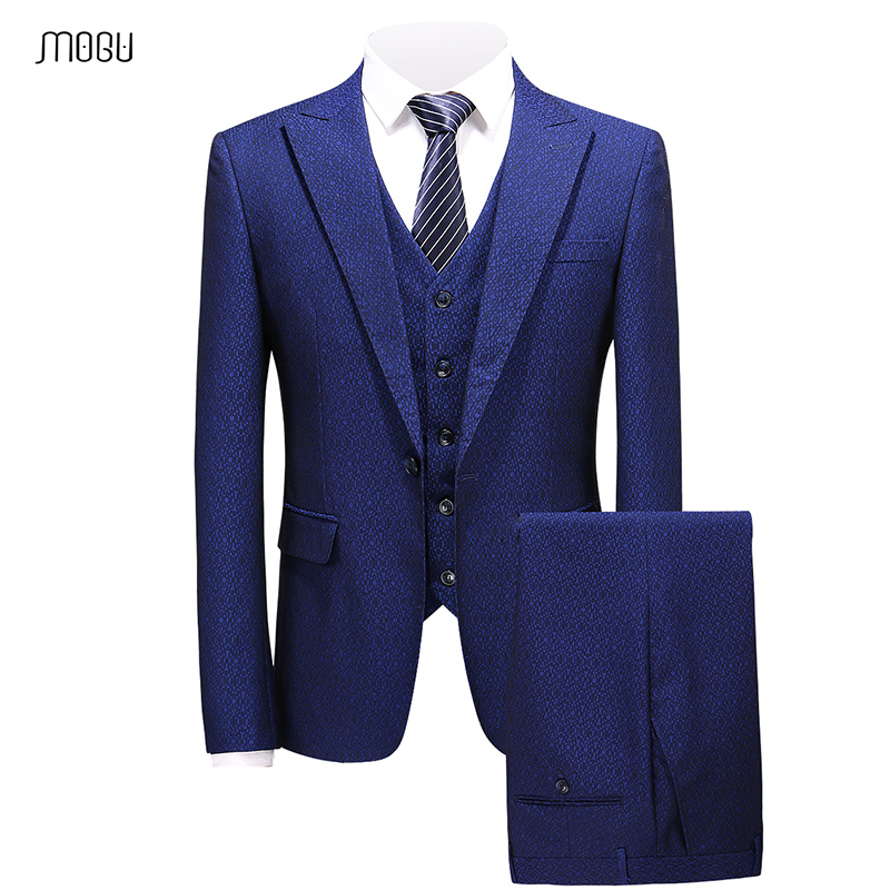 MOGU High Quality <font><b>Men</b></font> Casual <font><b>Suits</b></font> With Three Pieces Royal Blue Printed <font><b>Wedding</b></font> <font><b>Suits</b></font> <font><b>2018</b></font> New Vogue <font><b>Terno</b></font> Masculino 5XL image