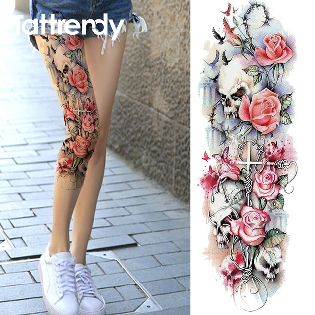 Sexy Summer Women Flower Temporary Tattoo Full Arm Legs Skull Rose