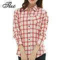 Nova Chegada Luva Cheia Senhora Casual Plaid Shirts Tamanho S-2XL Super Qualidade Turn-down Collar Mulheres Blusas de Algodão de Moda