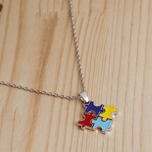 Fun Puzzle Piece Necklace Jigsaw Necklace Love Best Friend Family Everyday Unisex Gift Colorful Autism Awareness Necklace#277007(China)