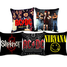 AC/DC Slipknot Cushion Covers Rock And Roll Music NIRVANA Kurt Cobain Cushion Cover Sofa Decorative Linen Pillow Case(China)
