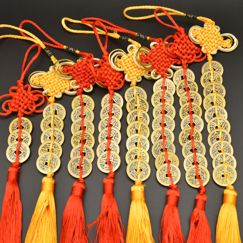 Chinese Manual Knot Fengshui Lucky Charms Ancient I CHING Copper Coins Mascot Prosperity Protection Good Fortune Home Car Decor