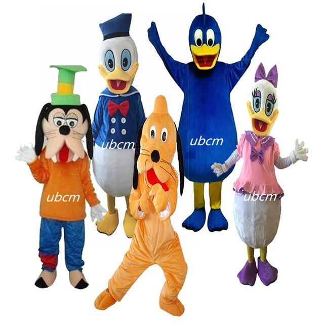 Donald Duck và Daisy Mascot Trang Phục Pluto Và Goofy Linh Vật Ưa Thích Ăn Mặc Hiệu Suất Prop Trang Phục Dành Cho Người Lớn Kích Thước