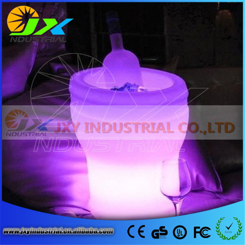 Free Shipping 5L Volume plastic led ice bucket color changing,5L bars nightclubs LED light up ice bucket Champagne beer bucket