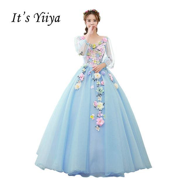 US $98.8 5% OFF|Free Shipping Plus Size Wedding Dresses Vestidos De Novia  Purple Light Blue Pink Ivory Ball Gowns Appliques Bridal Frocks MHL004-in  ...