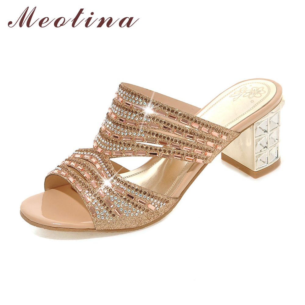 Meotina Designer Shoes Women Luxury 2018 Women Slides Open Toe High Heels Rhinestone Slippers Summer Slippers Gold Size 9 10 11 meotina gladiator shoes 2018 women shoes