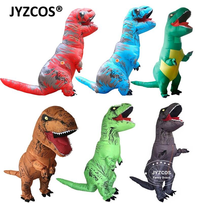 JYZCOS взрослых Фэнтези T REX надувной костюм Хэллоуин косплэй t костюмы тираннозавров динозавр партии нарядное платье для мужчин женщин