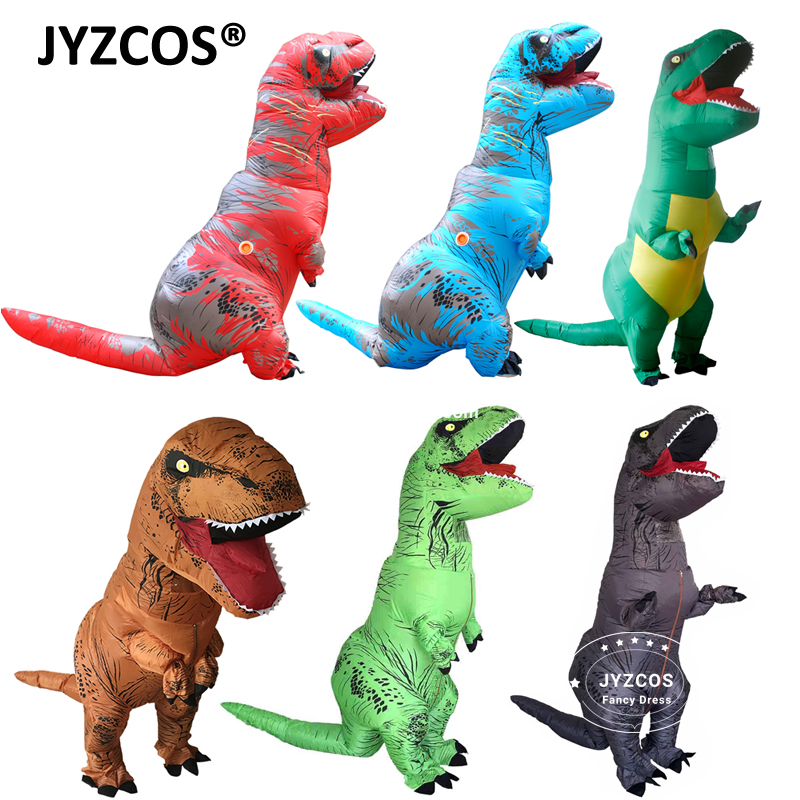 JYZCOS Adult Fantasy T REX Oppblåsbare kostyme Halloween Cosplay t rex Kostymer Dinosaur Costume Party Fancy Dress for Menn Kvinner