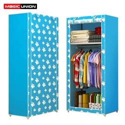 União mágica não-tecido único guarda-roupa dobrável estudante dormitório armário de armazenamento casa à prova de poeira armário pequeno