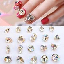 100 PCS Glass Rhinestones K9 Clear AB Faceted Jewels stones Transparent Rhinestone Nail Art Decoration Nails Art Strass Crystal