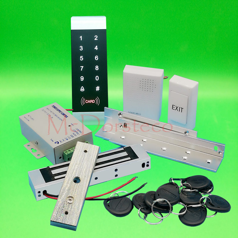 DIY Complete 125khz Rfid Door Lock control system 350lbs 180kg Electric Magnetic Lock+ZL Bracket+Power supply+exit button x6 rfid door entry system 180kg magnetic lock and u bracket for glass door
