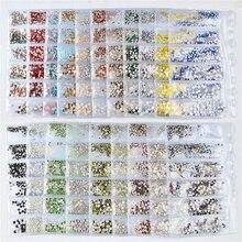 1 Bag 3D Acrylic Flat Back Nail Art Rhinestones Crystal Mixed Size AB Colorful Studs DIY Rhinestone Decoration