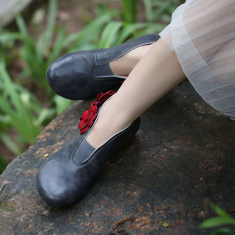 2018 Women Leather Shoes Ankle Boots Handmade Flower Vintage Round Toes Low Heels Women Floral Booties