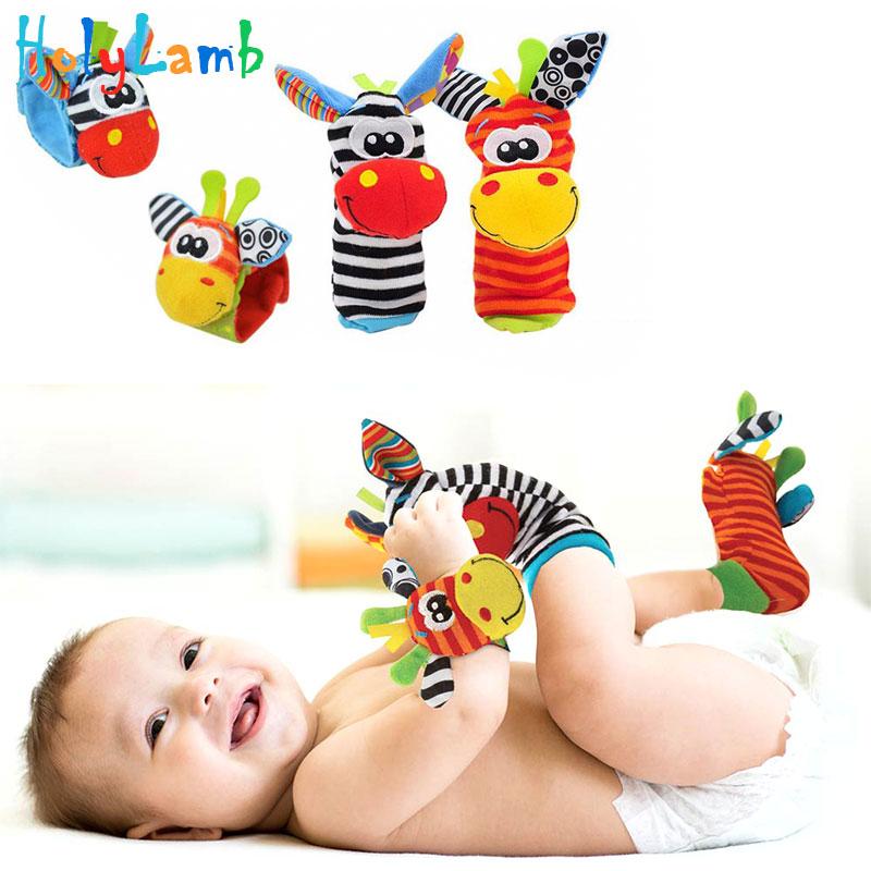 Brinquedos do bebê dos desenhos animados 0-12 meses macio animal do bebê chocalhos crianças infantil recém-nascido meia de pelúcia brinquedo do bebê cinta de pulso do bebê pé meias