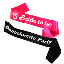 Wedding ribbon Hot pink Ring Bride to be sash black bachelorette band bridesmaid maid of honor ribbons hen party mother of bride(China)