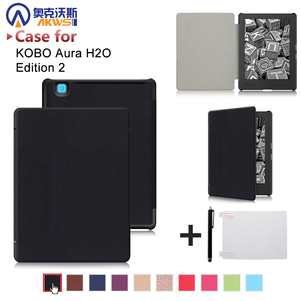 Ultra slim cover case for 2017 Kobo aura H2O edition 2 6.8 water proof ereader PU leather case+free gift