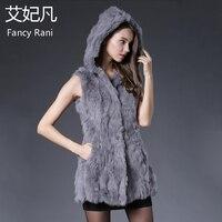Genuine Rabbit Fur Vest Hooded 2018 Winter Spring New Rabbit Fur Silm Waistcoats Ladies Natural Real Fur Coat Long Jacket Solid