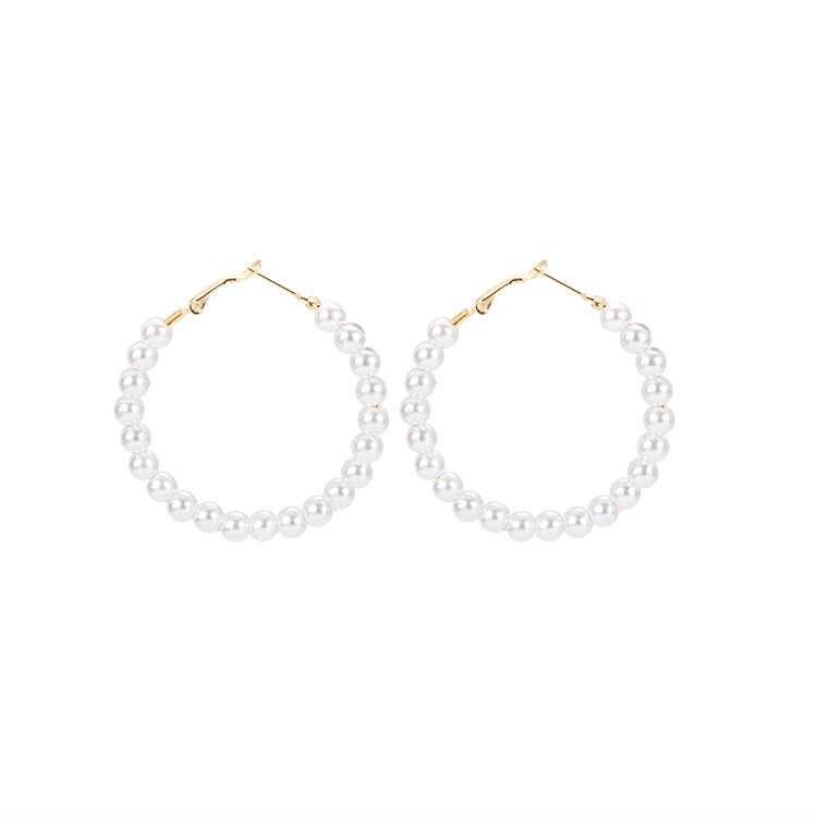 Korean fairy temperament personality go with pearl big circle earrings