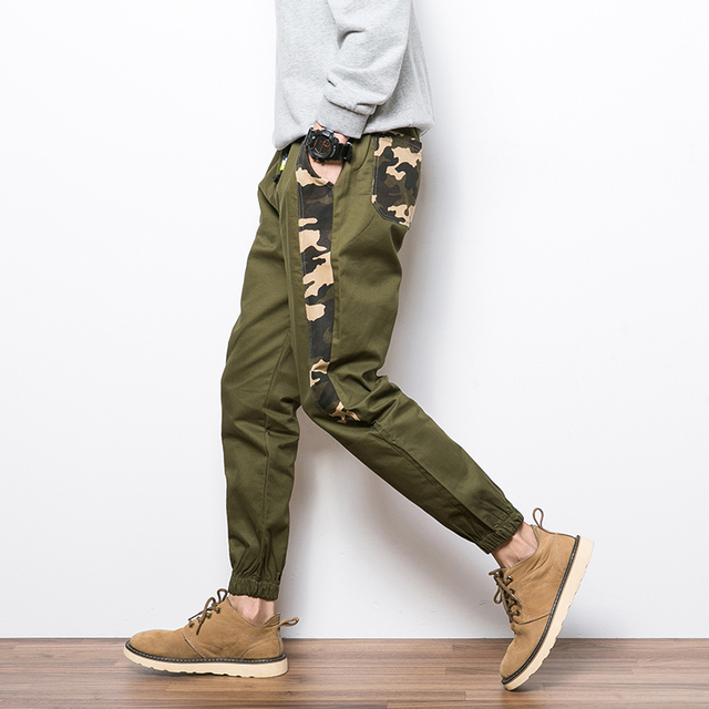 2016 Plus Size 5XL Slim Straight Men Casual Camo Pants Man Pocket Trousers Mens Joggers Cargo Men Pants Sweatpants Harem Pants