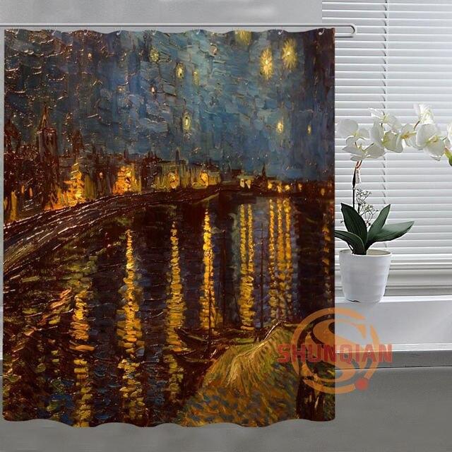 Van Gogh Starry Night Custom Shower Curtain Bathroom Fabric For Bathroom  Decor Bathroom Curtain Acceptable Custom