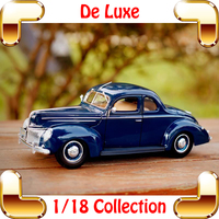 New Year Gift 1939 De Luxe 1/18 Classic Model Car Collection Metal Alloy Die cast Decoration Static Cars Toy Dioramas