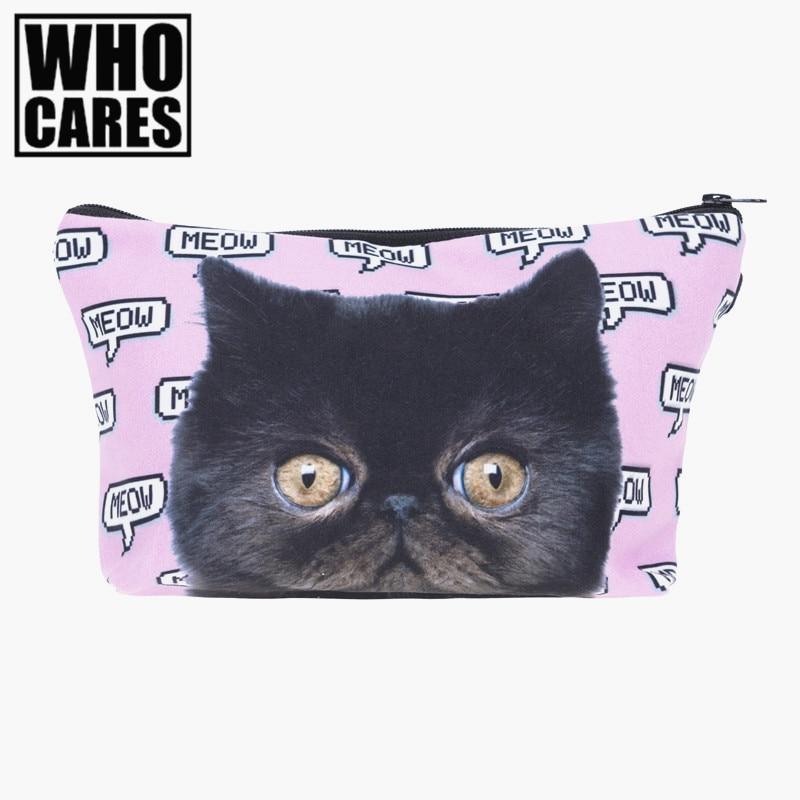 Meow pixel pink cat 3D Printing cosmetic bag 2017 New who cares women makeup bag trousse de maquillage pencil bags necessaire