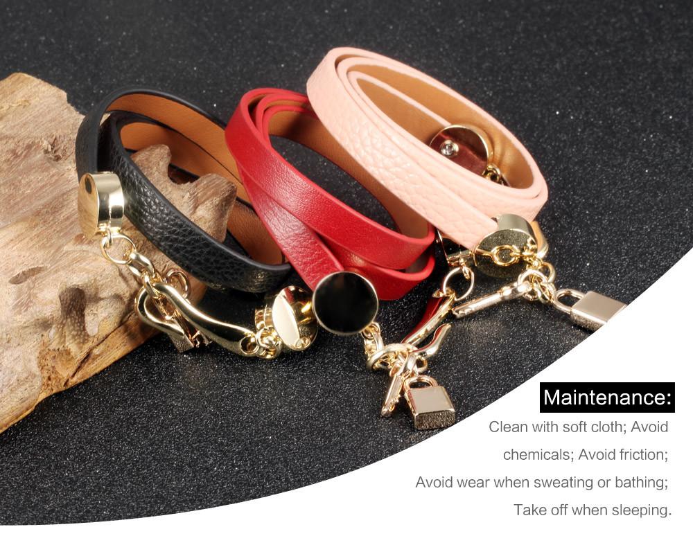 Женский кожаный браслет брелок Ширина 30 мм
