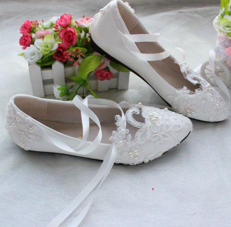 Extra large plus sizes 41 42 43 flats wedding lace shoes womens female woman bridal flat