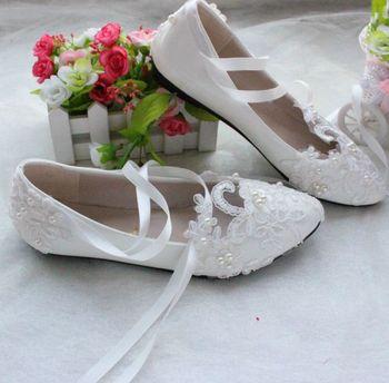 a9876dfe7 Очень большой плюс размеры 41, 42, 43 квартиры Свадебная кружевная обувь  женские свадебные туфли на плоской подошве обувь больших размеров