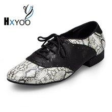 XHYOO 2017 Snakeskin Pattern Latin Dance font b Shoes b font Men Lace Up Ballroom Dancing