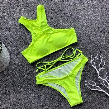 Peachtan extreme bikini micro leopard print swimsuit female cross bikini set 2019 thong woman swimwear high neck bathers neon 4