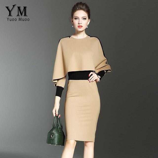Yuoomuoo новые европейские модные женские туфли осенние узкие платье краткое элегантный хаки Бизнес работа платье Повседневное дамы деловая модельная одежда