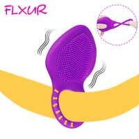 FLXUR 10 Modus Verzögerung Ejakulation Silikon Vibrator Männlichen Ring Penis Cock Stimulieren Vibrator USB Aufladbare Erwachsene Sex Spielzeug für Männer