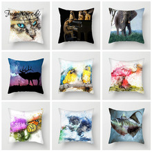 Fuwatacchi Cute Animal Cushion Cover Watercolor Painted Cat Dog Pillow Case For Chair Sofa Home Decoration Pillowcases 45cm*45cm