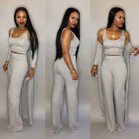 Hot Design 3 Pieces Set Women Crop Top With Pants and Long Trench Women Sets