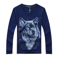 3D Wolf Printed T Shirt Men Casual Cotton Long Sleeve T Shirt Spring Autumn T Shirt