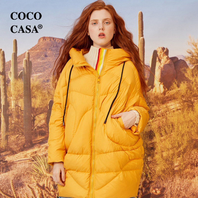 rouge blanc Vestes jaune Chinoiserie Canard Noir Ovesized Ultra Femmes Capuchon Épais De 90 À Hiver Duvet Lynette's Chaud Blanc Manteaux Lâche U1qHxpw