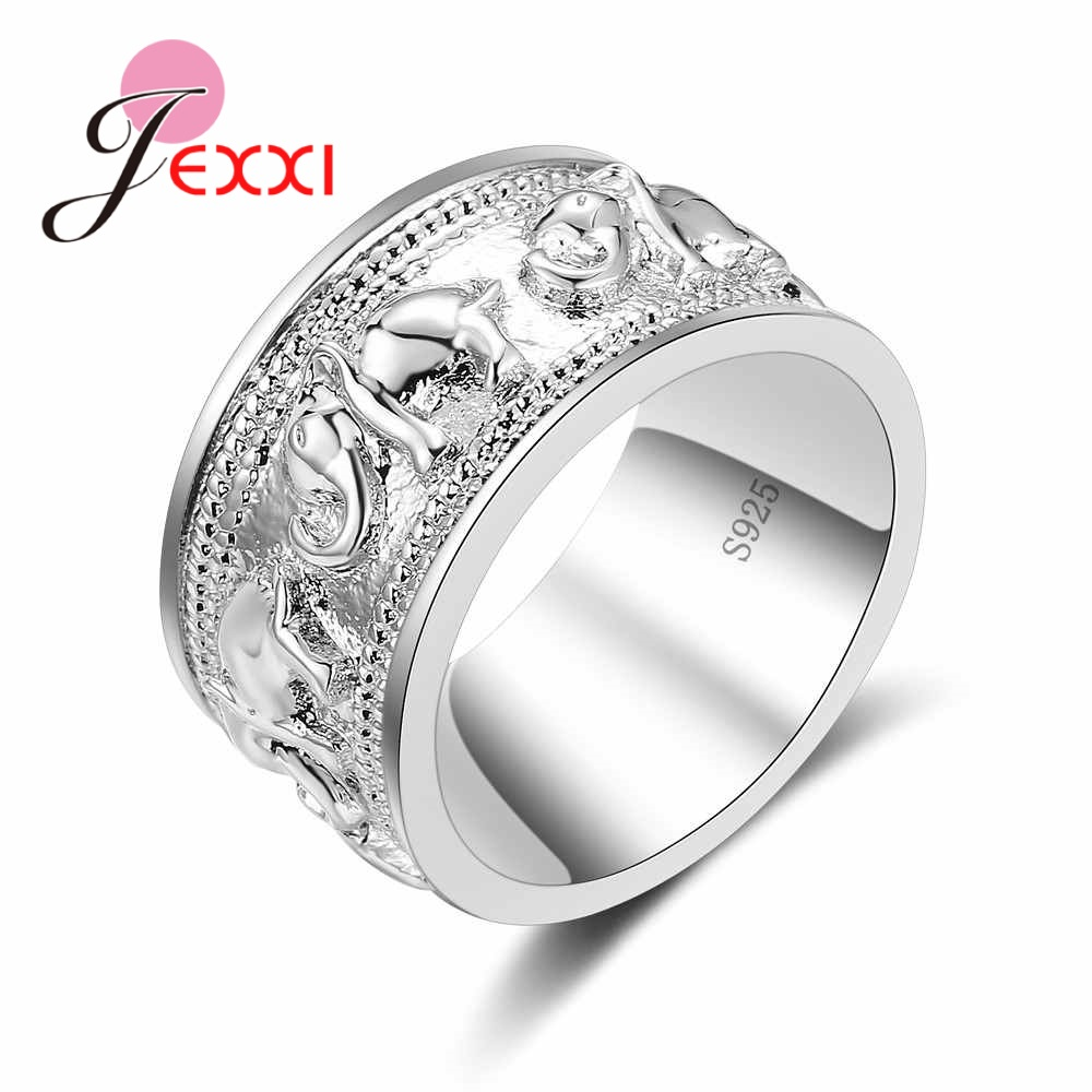 New Punk Tendy 925 Silver Ring For Lover Vintage Engagement Elephant Shape Steel Ring for Men & Women lord Wedding(China)