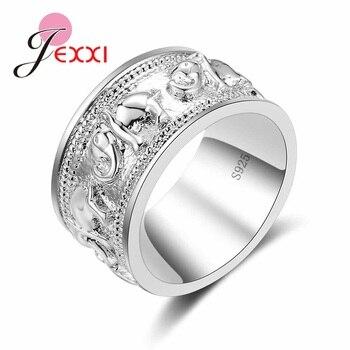 New Punk Trendy 925 Silver Ring For Lover Vintage Engagement Elephant Shape Steel Ring for Men & Women lord Wedding elephant shape open ring page 3