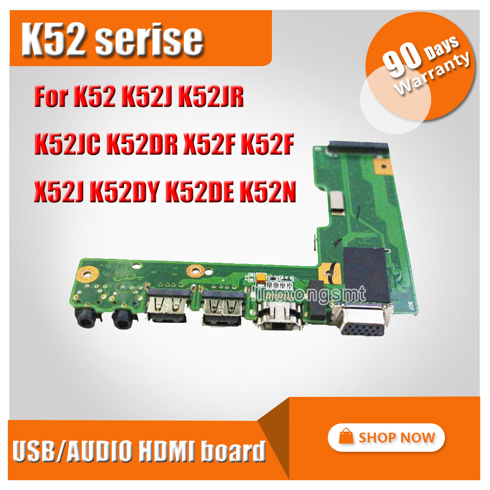 For ASUS K52 K52J K52JR K52JC K52DR X52F K52F X52J K52DY K52DE K52N USB AUDIO HDMI BOARD 60-NZII01000 100% Original