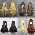 75cm High-temperature Fashion Lady Sexy Women Full Long Curly Wig With Neat Bang Deep Wave Cosplay Daily Wigs Universal Lolita