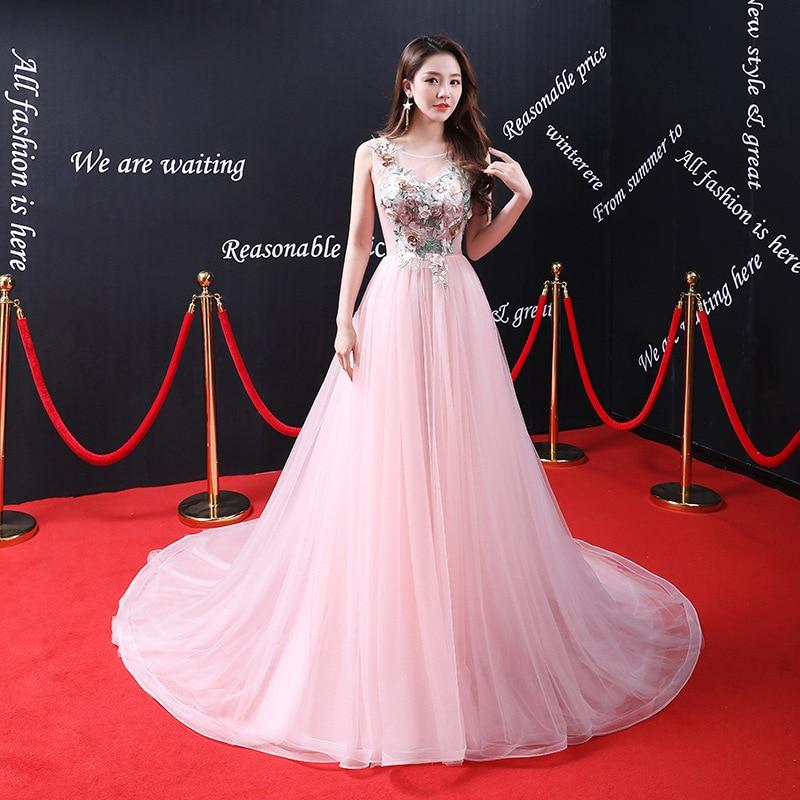 Sexy Pink Wedding Dress Scoop Neck A-line Cheap Bridal Gown Illusion Vestido de noiva Floor Length Wedding Gowns bryllupskjole