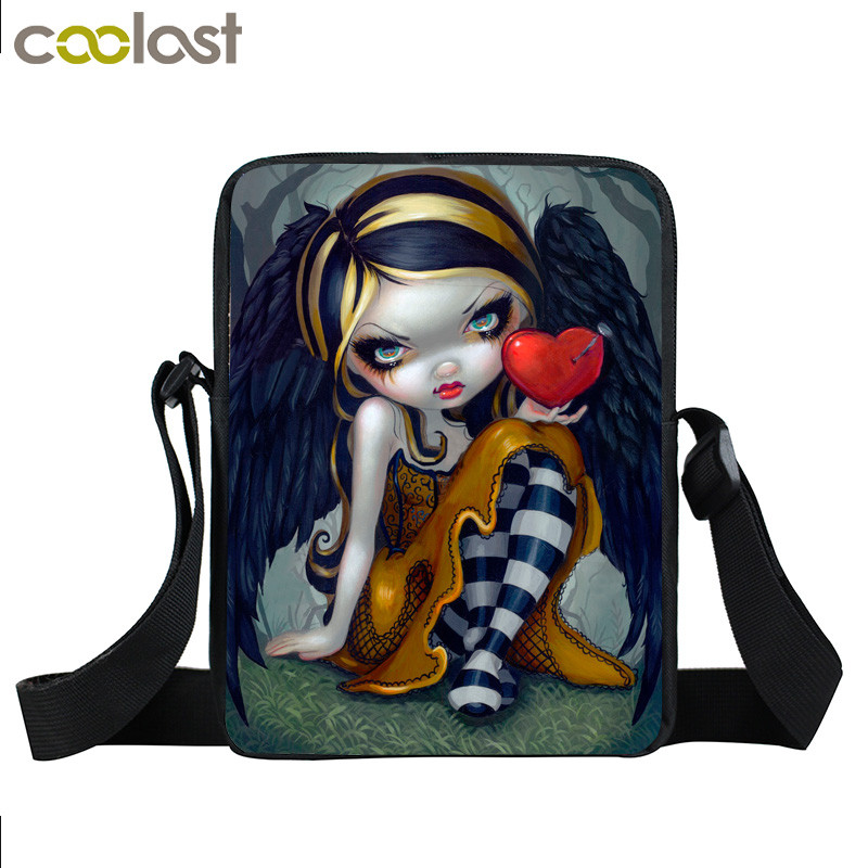 Gothic Angel Young Women Mini Messenger Bag Cartoon Crossbody Bag Girls School Bags Kids Book Bags Children Schoolbags Best Gift