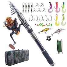 Fishing Rod Combo And Reel Full Kit Carbon Fiber Telescopic Spinning Portable Fishing Pole With Line Lures Hooks Fishing Bag sougayilang telescopic fishing rod with spinning reels combos fishing reel pole lure line bag sets kit for travel fishing tackle