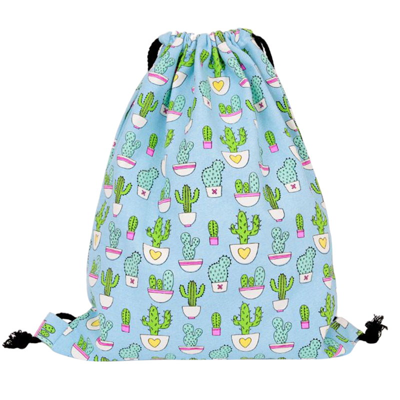 Coofit Girls Cactus Pattern Cartoon Drawstring Backpack Lovely Canvas Drawstring Bags Mochila Feminina Sack Beach Bag Summer Sac camouflage pattern drawstring design trousers co ord