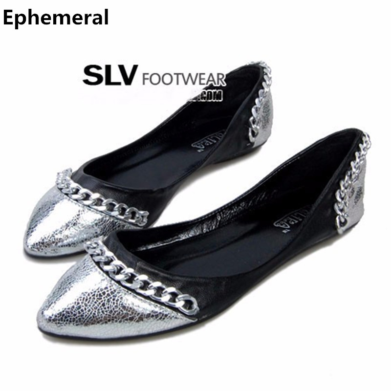Ladies vintage shoes woman flats no heels for summer chain pointed toe slip ons plus size 45 46 34 coffee silver black new style lankarin brand 2017 summer woman pointed toe flats ladies platform fashion rivet buckle strap flat shoes woman plus size