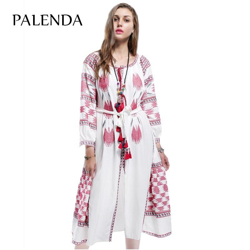 Boho bohème femmes broderie lanterne manches lâche motif large fit robe blanc doux coton tissu long caftans fleurs manches