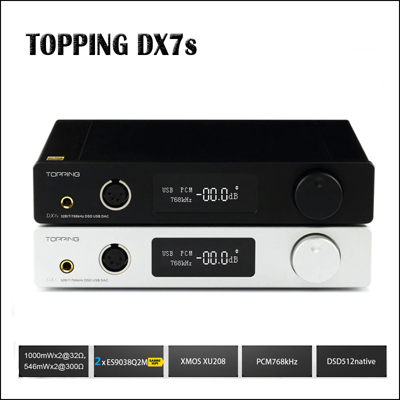 TOPPING DX7s Full Balanced DAC Headphone Amplifier USB DAC ES9038Q2M Amp XMOS XU208 OPA1612 DSD512 Optical
