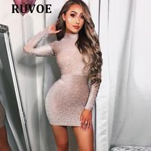 2018 New Arrival Long Sleeve Nude Pearls Mini Bodycon Celebrity Party Dress Cocktail Night Club Women Dresses Dropshipping R-80