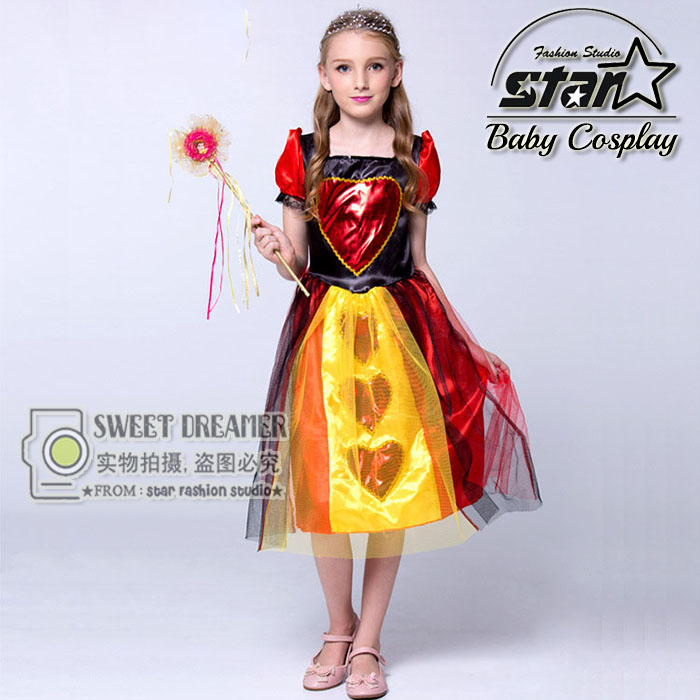 Alice in Wonderland Cosplay Costume Children Girls Queen Of Hearts Dress Red Queen Kids Halloween Patchwork Princess Costume inuyasha kikyo miko priestess white red kimono cosplay costume